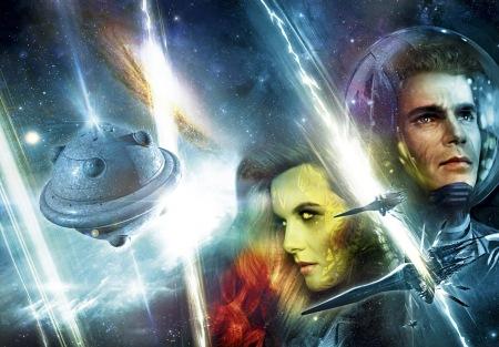 A capa principal completa do episódio 2800 (com Perry Rhodan, a cientista Sichu Dorksteiger e a nave portadora Ras Tschubai)