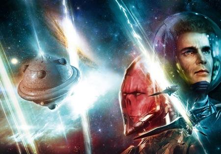 A capa alternativa completa do episódio 2800 (com Perry Rhodan, um tiuphore e a nave portadora Ras Tschubai)